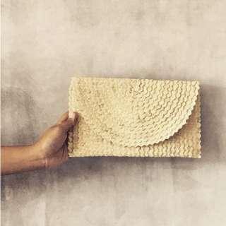Balinese Handmade Rattan Envelope Clutch Purse Bag - White
