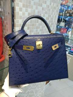 Hermes kelly 28 ostrich X stamp