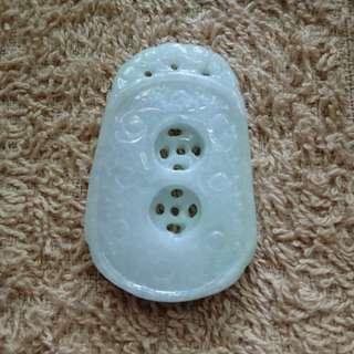 Burmese Jade (Type A Jadeite) 翡翠双铜钱牌