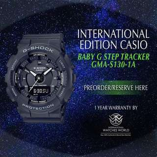CASIO INTERNATIONAL EDITION G SHOCK S SERIES STEP TRACKER GMA-S130-1A/ GMA-S130-2A/ GMA-S130-4A/ GMA-S130-7A