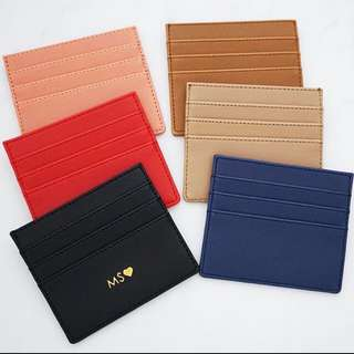 LM010- Custom Cardholder Leather Card Holder  Saffiano textured 7 Slots Free Personalised Name or Initial - Made To Order - Multi colours -6mm Gold text