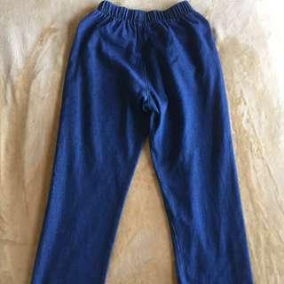 🚚 寬版牛仔鬆緊長褲