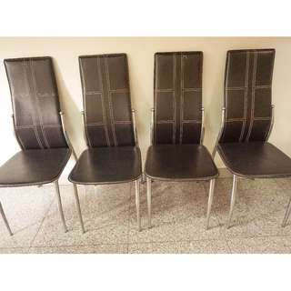 Black Leather Dining Chairs x 4