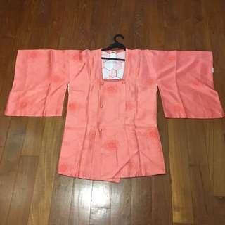 Full Silk Salmon Pink Michiyuki Kimono Dress From Japan