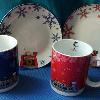 Snoopy Mugs & Plates Set