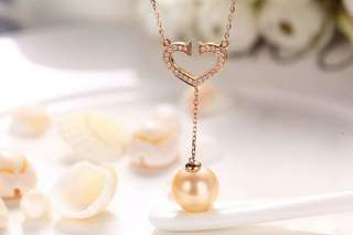 小清新18k鑽石💎18k玫瑰金南洋金珠套裝 套鏈南洋金珠11mm 耳線南洋金珠9mm