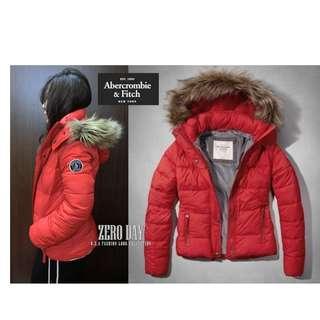 美國A&F專櫃帶回真品Abercrombie&Fitch Classic Puffer Jacket連帽防寒外套紅