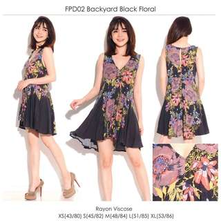 Black yard floral print dress