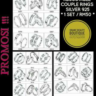 Silver 925 Couple Rings Adjustable