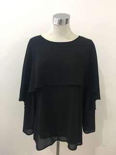 Jemaima black top/blouse with cape