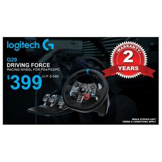 (Brand New)  Logitech / G G29 Driving Force Steering Wheel (for PS4/PS3/PC) + 2 Years Local Warranty