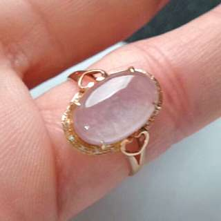 🎍18K Gold - Grade A Icy White Oval Cabochon Jadeite Jade Ring🎍