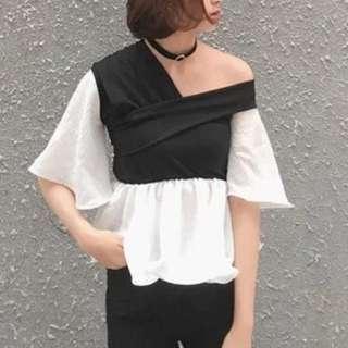 One side drop shoulder combination blouse