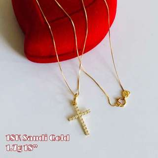 "IN-STOCK: 18K|750 Studded Cross Ladies 18"" Necklace Genuine Gold"