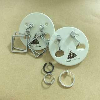 二手-垂掛耳夾耳環組合搭配 夾式耳環 無耳洞