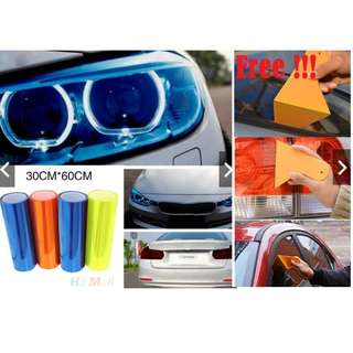 30x60cm Car Smoke Fog Light Headlight Taillight Tint Vinyl Film Sticker(Free Tint Scraper)