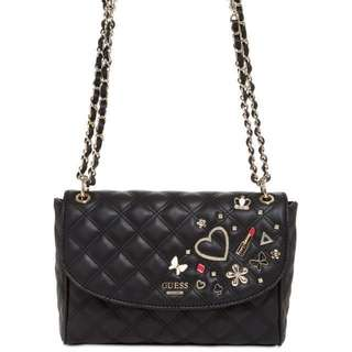 Guess Darin Black Quilted Convertible Shoulder & Crossbody Bag
