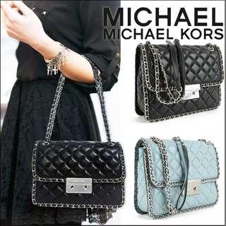 全新保証正品Michael Kors Carine Sloan Quilted Leather Large Shoulder Bag MK 女裝 鏈條菱格紋 小羊皮 手袋 名牌 女朋友 禮物 迈克科尔斯