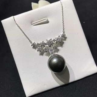 ☄925純銀星星🌟款黑珍珠項鏈 12-13mm正圓微瑕大溪地黑珍珠