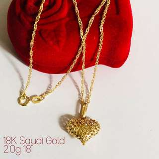 IN-STOCK: 18K|750 Chunky Heart Ladies Necklace Genuine Gold