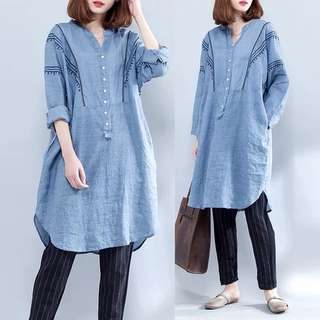 Plus Size Large size women's clothing 2018 spring Arts V-neck linen embroidery dress long loose loose A word skirt tide