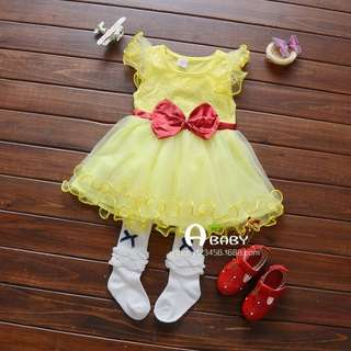 New💕Girl Dress Yellow with Ribbon in waist