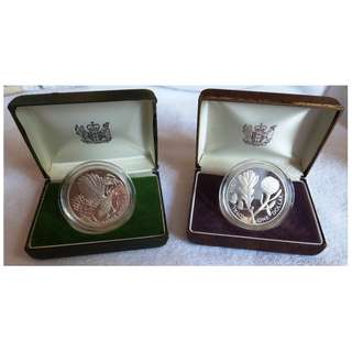 New Zealand 1980 & 1981 Proof Silver Dollar with case