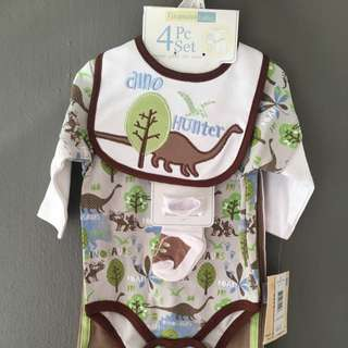 4 pc Set of Long Sleeve Bodysuit, Pants, Bib & Socks