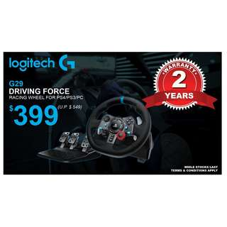 (Brand New)  Logitech / G G29 Driving Force Steering Wheel (for PS4/PS3/PC) + 2 Years Singapore Logitech Distributor Warranty