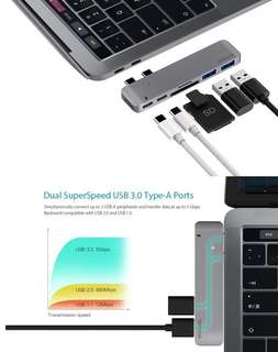 [1 year warranty] dodocool Hyperdrive USB C Hub: Thunderbolt 3 USB-C USB 3.1 Hub SD Card Reader for Apple MacBook Pro