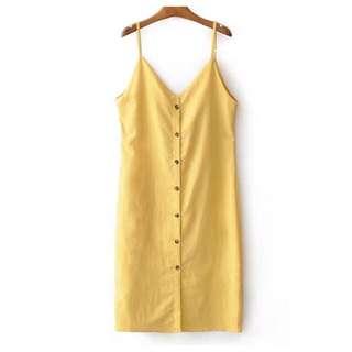 ulzzang spaghetti strap button down dress