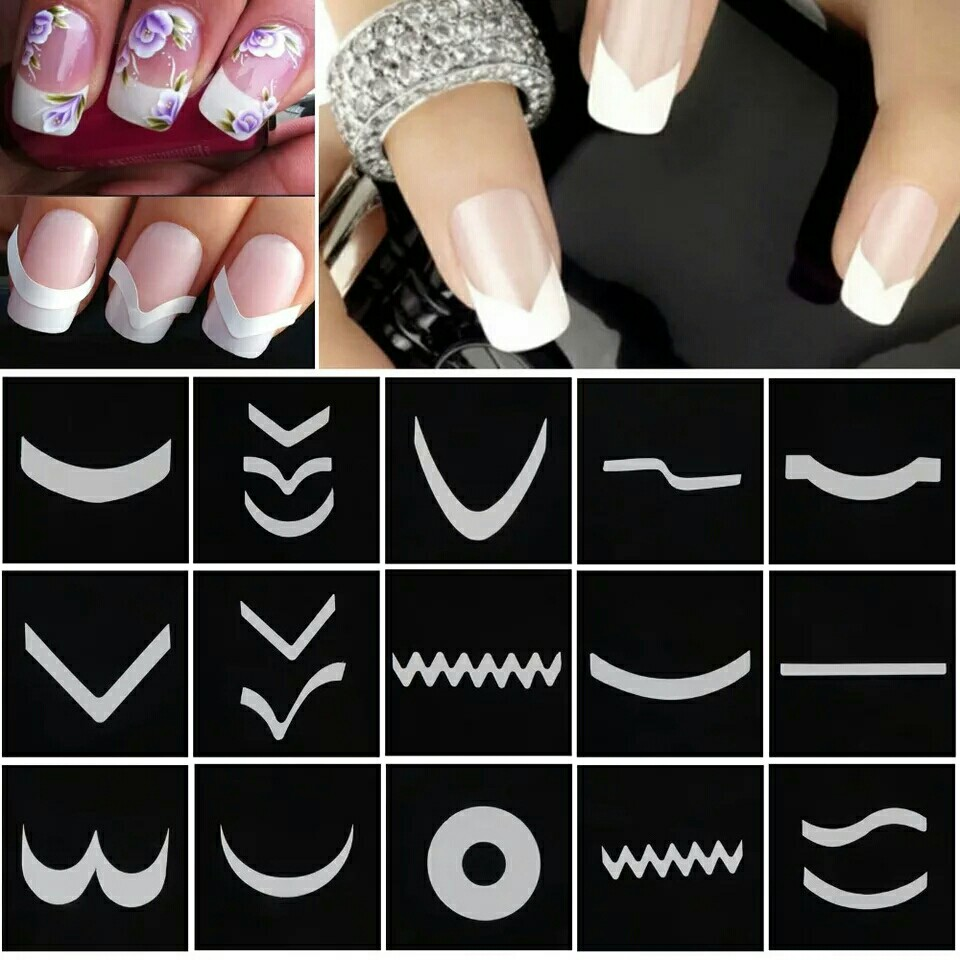 15 Sheets French Manicure DIY Nail Art Tips Guides Stickers Stencil ...