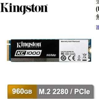 金士頓 KC1000 M.2 PCIe 3.0 NVMe 固態硬碟 960GB ssd 保固五年 1tg
