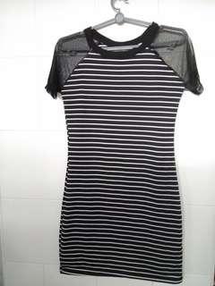 Mesh Black n White Stripe Dress
