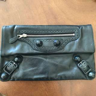 Balenciaga Paris black leather clutch