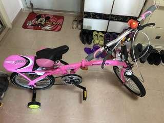 粉紅腳踏車(附可拆除的安全輪)