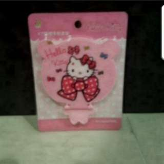 In Stock Hello Kitty Portable And Foldable Mirror With Comb Handphone Holder Size is 10cm × 8cm
