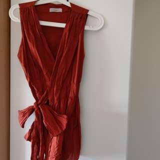 🚚 韓製綁帶橘紅洋裝