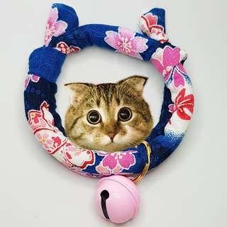 Oui.abi Japan Kimono Cat Dog Rabbit Pet Collar - blue flower