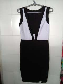 Black and White Office Work Shift Dress