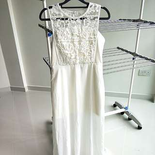 Elegant Maxi Lacy White Dress