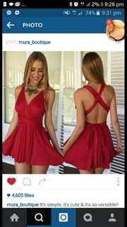 red short dress transformateble