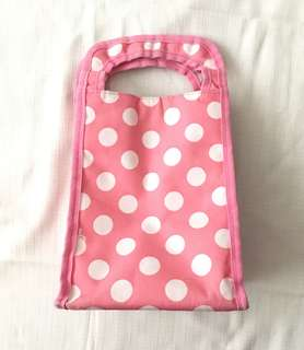 Charity Sale! Kids Polka Dotted Pink and White Insulated Lunch Box