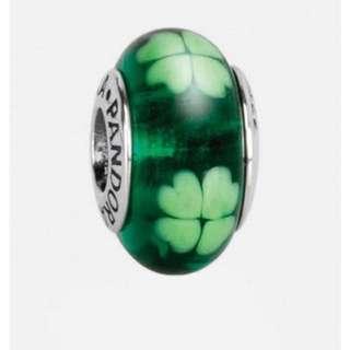 Pandora Green Shamrock Murano Glass Charm