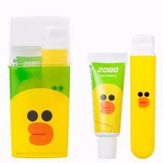 BNIB SALLY LINE FRIENDS KOREA TRAVEL Toothbrush Toothpaste KIT SET [Toothbrush + Toothpaste (15g) + Holder]