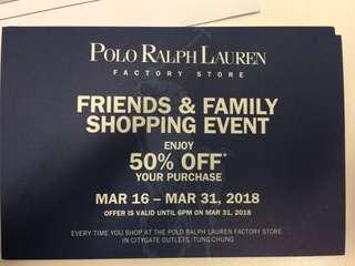 Polo Ralph Lauren 50% discount voucher