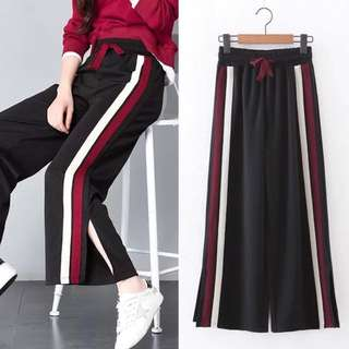 (S~4XL) Spring side split casual trousers fight color loose striped sports pants college nine wide leg pants pants