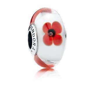 Pandora Wild Flower Tribute Glass Charm