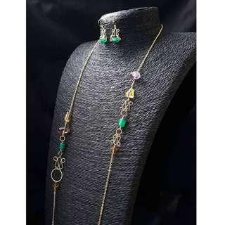 HANDMADE! Emerald Necklace 30056