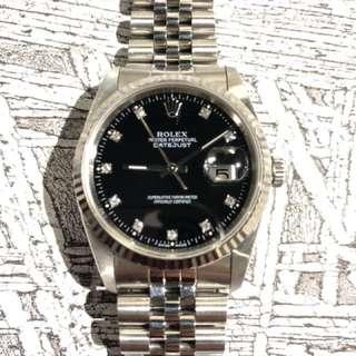 Rolex-16234-黑色鑽石面-L頭-淨錶一隻!